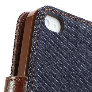 Jeans peňaženkové puzdro pre iPhone 4 - čiernomodré - 7