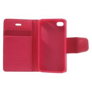 Diary PU kožené knížkové pouzdro na iPhone 4 - rose - 7