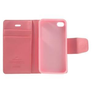 Diary PU kožené knížkové puzdro pre iPhone 4 - ružové - 7