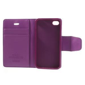 Diary PU kožené knížkové puzdro pre iPhone 4 - fialové - 7