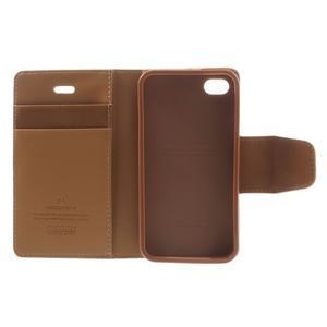 Diary PU kožené knížkové puzdro pre iPhone 4 - hnedé - 7