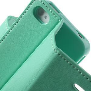 Diary PU kožené knížkové puzdro pre iPhone 4 - azurové - 7