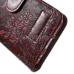 Elegantné kvetinové peňaženkové puzdro na iPhone 6 a 6s - červenohnedá - 7