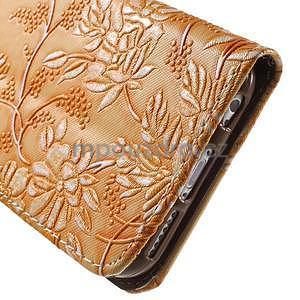 Elegantné kvetinové peňaženkové puzdro na iPhone 6 a 6s - oranžové - 7