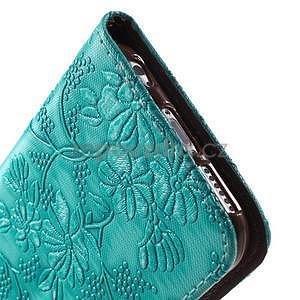 Elegantné kvetinové peňaženkové puzdro pre iPhone 6 a 6s - tyrkysové - 7