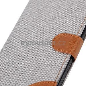Látkové / koženkové peňaženkové puzdro na iphone 6s a 6 - šedé - 7