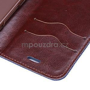 Jeans látkové/pu kožené peňaženkové puzdro na iPhone 6 a 6s - tmavomodré - 7