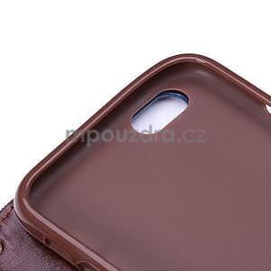 Jeans látkové/pu kožené peňaženkové puzdro na iPhone 6 a 6s - svetlomodré - 7