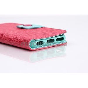 Dvojfarebné peňaženkové puzdro pre iPhone 6 a iPhone 6s - rose/cyan - 7