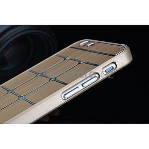 Štýlový kryt s kovovými chrbtom pre iPhone 6 Plus a 6s Plus - champagne - 7