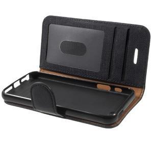 Cloth PU kožené puzdro pre iPhone SE / 5s / 5 - čierne - 7