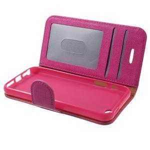Cloth PU kožené pouzdro na iPhone SE / 5s / 5 - rose - 7