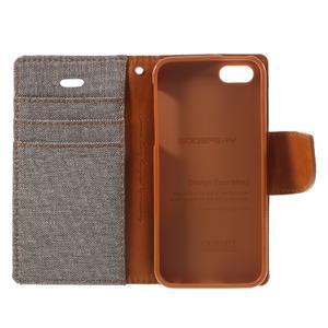 Canvas PU kožené/textilní pouzdro na mobil iPhone SE / 5s / 5 - šedé - 7