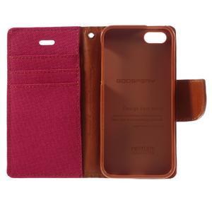 Canvas PU kožené/textilní pouzdro na mobil iPhone SE / 5s / 5 - červené - 7