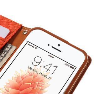 Canvas PU kožené/textilní pouzdro na mobil iPhone SE / 5s / 5 - oranžové - 7