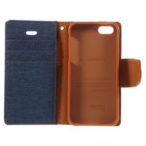 Canvas PU kožené/textilné puzdro pre mobil iPhone SE / 5s / 5 - tmavomodré - 7