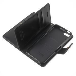 Extrarich PU kožené puzdro pre iPhone SE / 5s / 5 - čierne - 7