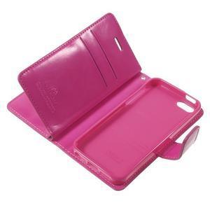 Extrarich PU kožené pouzdro na iPhone SE / 5s / 5 - magneta - 7