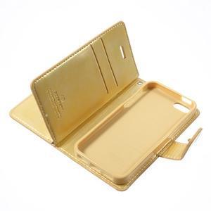 Extrarich PU kožené pouzdro na iPhone SE / 5s / 5 - zlaté - 7