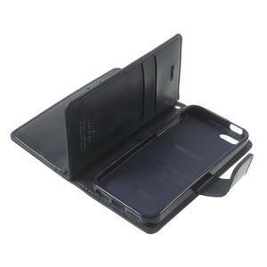 Extrarich PU kožené puzdro pre iPhone SE / 5s / 5 - tmavomodré - 7