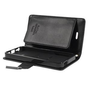 Rich diary PU kožené pouzdro na iPhone SE / 5s / 5 - černé - 7