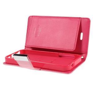 Rich diary PU kožené puzdro pre iPhone SE / 5s / 5 - ružové - 7