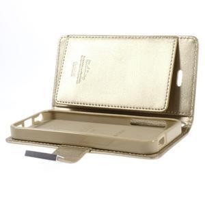Rich diary PU kožené pouzdro na iPhone SE / 5s / 5 - zlaté - 7