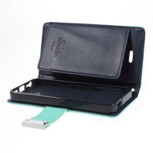 Rich diary PU kožené puzdro pre iPhone SE / 5s / 5 - azurové - 7