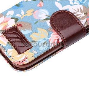 Kvetinové peňaženkové púzdro na HTC One Mini 2 -  modré - 7