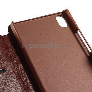 Peňaženkové puzdro pre Huawei Ascend P7 - hnedé - 7