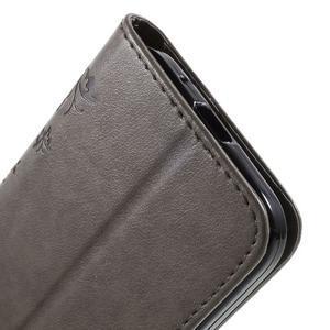 Butterfly PU kožené puzdro pre Samsung Galaxy Core Prime - šedé - 7