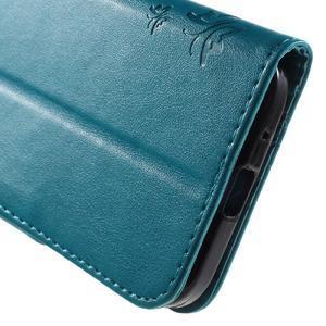 Butterfly PU kožené puzdro pre Samsung Galaxy Core Prime - modré - 7