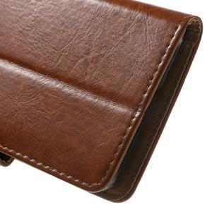 Horse PU kožené puzdro pre mobil Samsung Galaxy Core Prime - hnedé - 7