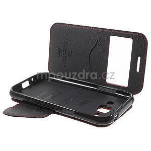 Kožené puzdro s okienkom Samsung Galaxy J1 - červené/čierné - 7