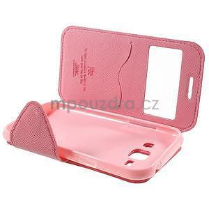 Kožené puzdro s okienkom Samsung Galaxy J1 - rose/ružové - 7