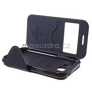 Kožené puzdro s okýnkem Samsung Galaxy J1 - oranžové/tmavě modré - 7