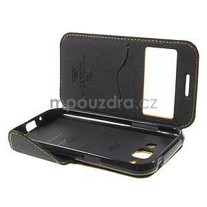 Kožené puzdro s okienkom Samsung Galaxy J1 - žlté/čierné - 7