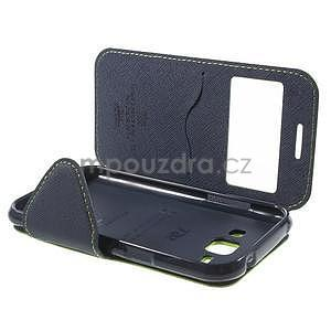 Kožené puzdro s okienkom Samsung Galaxy J1 - zelené/tmavo modré - 7