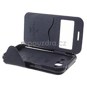 Kožené puzdro s okienkom Samsung Galaxy J1 - fialové/tmavo modré - 7
