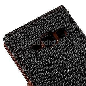 Čierné/hnedé kožené puzdro pre Samsung Galaxy J1 - 7