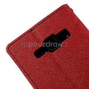Červené/tmavě modré kožené puzdro na Samsung Galaxy J1 - 7