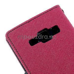 Rose/tmavě modré kožené puzdro na Samsung Galaxy J1 - 7
