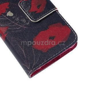 Zapínací puzdro pre Samsung Galaxy J1 - červená květina - 7
