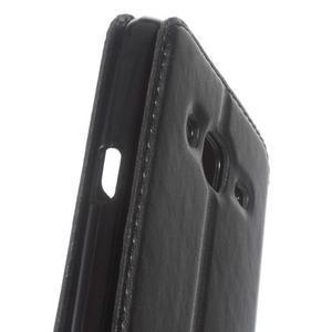Peňaženkové PU kožené puzdro s okienkom pre Samsung Galaxy J3 (2016) - čierne - 7
