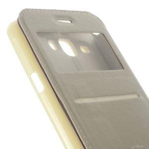 Peňaženkové PU kožené puzdro s okienkom pre Samsung Galaxy J3 (2016) - zlaté - 7