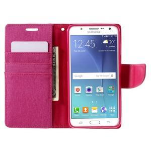 Canvas PU kožené/textilní pouzdro na Samsung Galaxy J5 (2016) - rose - 7