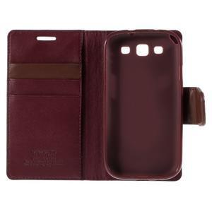 Diary PU kožené puzdro pre mobil Samsung Galaxy S3 - vínové - 7