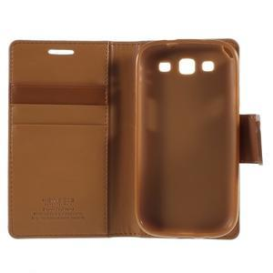 Diary PU kožené puzdro pre mobil Samsung Galaxy S3 - hnedé - 7