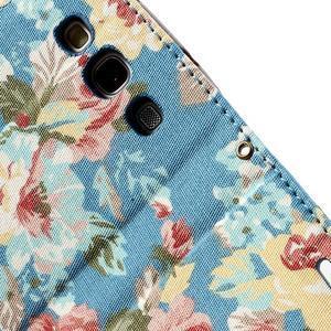 Kvetinové puzdro pre mobil Samsung Galaxy S3 - modré pozadie - 7