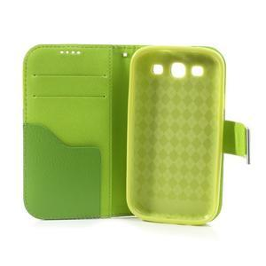 Tricolors PU kožené puzdro pre mobil Samsung Galaxy S3 - tmavozelený stred - 7